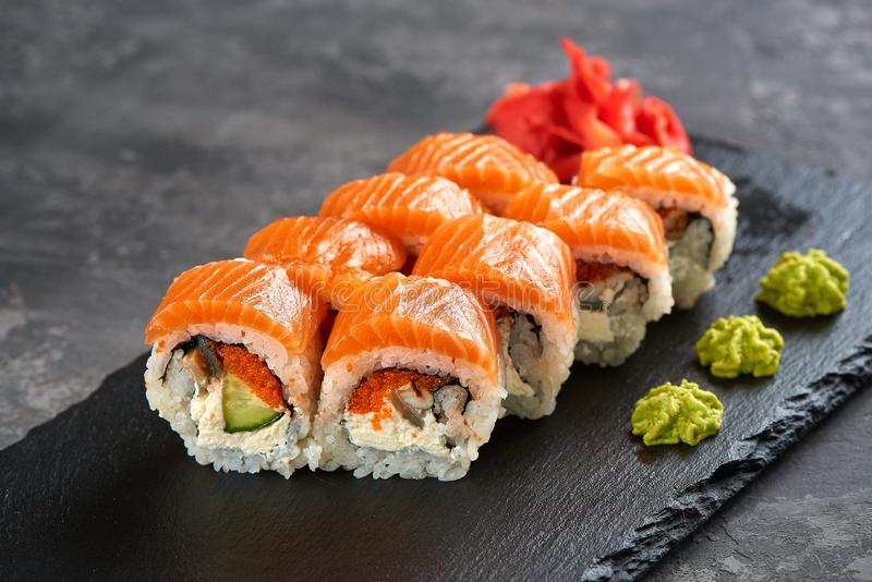 California sushi roll with salmon royalty free stock photography