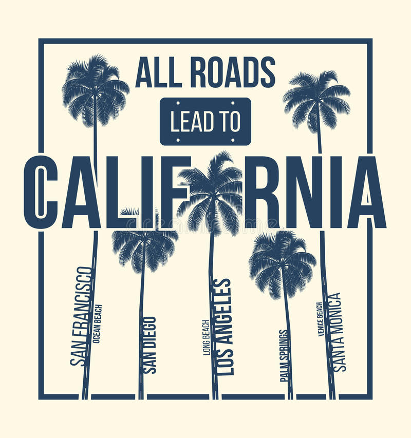 California t-shirt graphic design with palms. T-shirt print, typography, label, badge, emblem. Vector illustration vector illustration