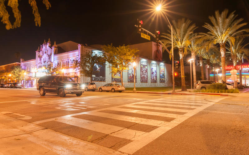 California Theatre of the Performing Arts. Pasadena,California, USA - October 3, 2015: Pedestrian crossing from car park on West 4th St building to movies and stock images