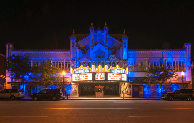 California Theatre of the Performing Arts. San Bernardino, California, USA - October 3, 2015: California Theatre of the Performing Arts night scene showing oof stock photos