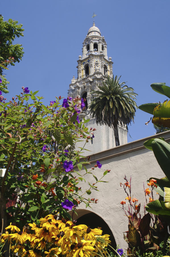 The California Tower in Balboa Park Viewed from the Alcazar Gardens stock photography