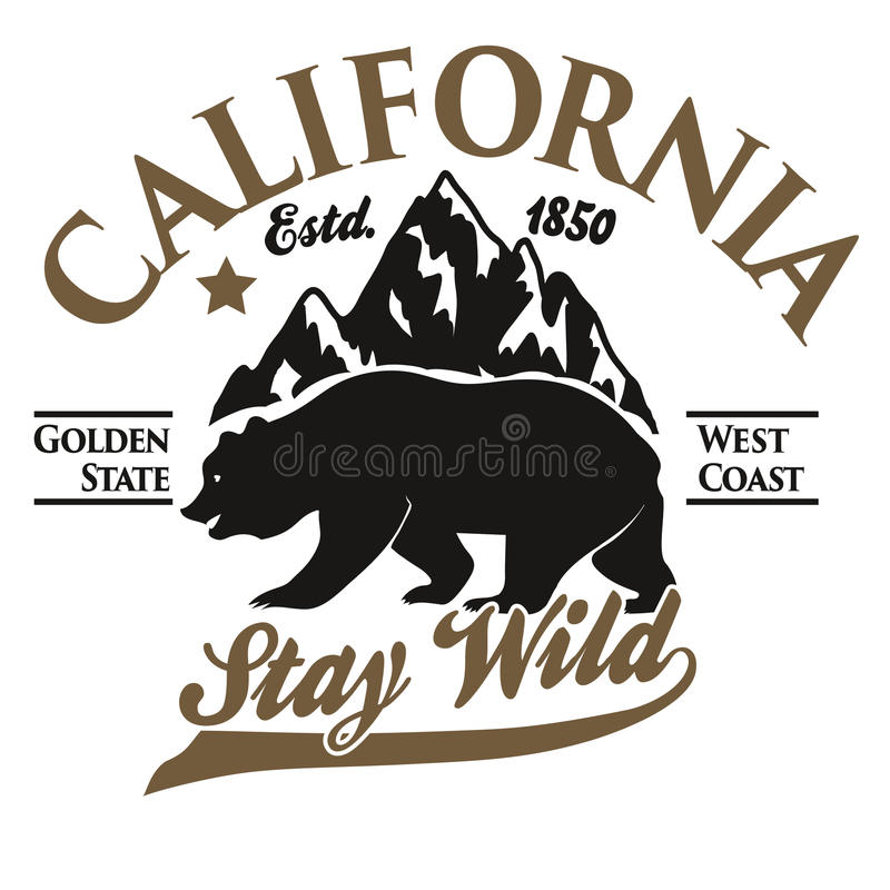 California typography print, grizzly Bear t-shirt. vector royalty free illustration