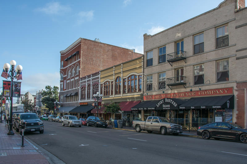 Houses on 5th Avenue in historic district Gaslamp Quarter, San Diego royalty free stock images