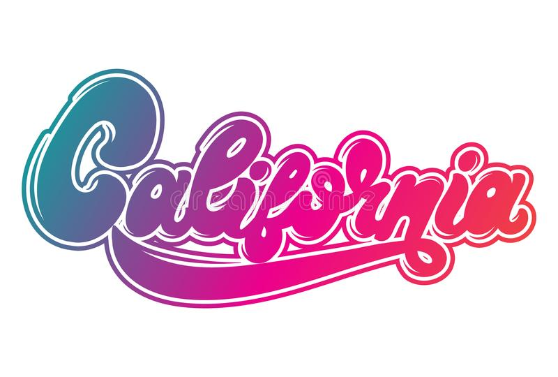 California. Vector hanwritten lettering made in 90`s style. stock illustration