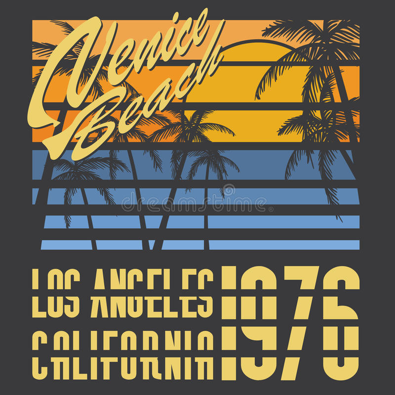 California Venice beach typography, t-shirt Printing design, Summer vector Badge Applique Label royalty free illustration
