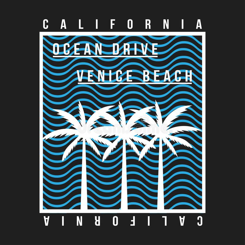California, Venice beach typography for t-shirt. Summer design. T-shirt graphic with tropic palms and wave royalty free illustration