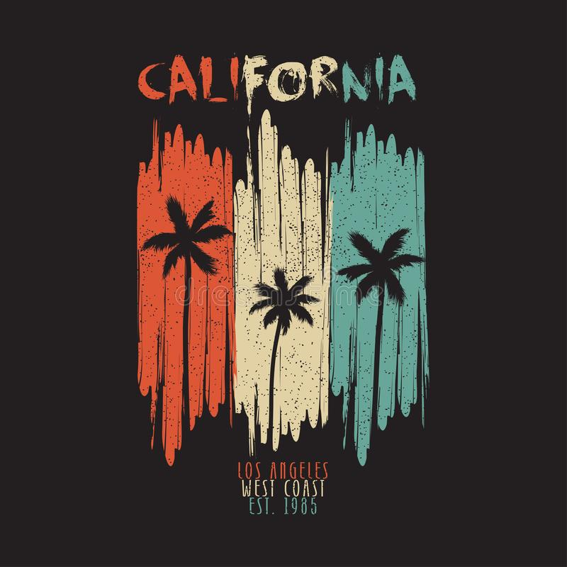 California vintage t-shirt typography with palm trees and grunge. Los Angeles original apparel design for summer clothes print. Vector illustration stock illustration