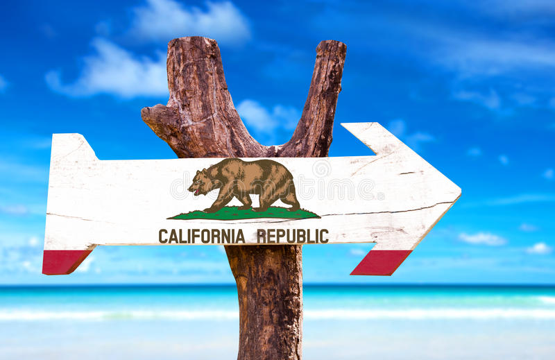 California wooden sign with beach background stock photo