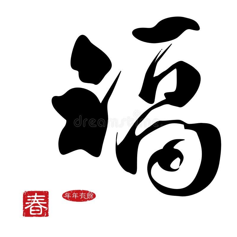 Caligrafía china del Año Nuevo ilustración del vector