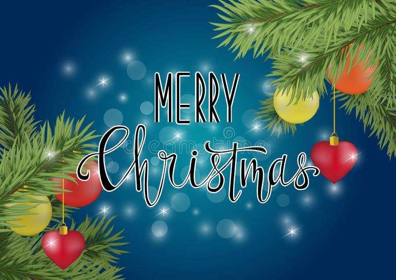 Caligrafía de la Feliz Navidad en fondo azul ilustración del vector