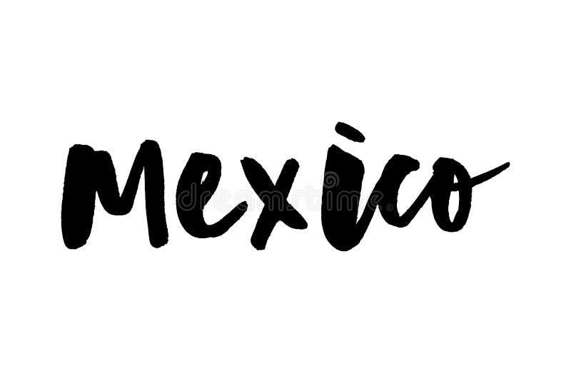 Caligrafía de las mano-letras de Ciudad de México, México Ejemplo dibujado mano de la acción del vector de México stock de ilustración