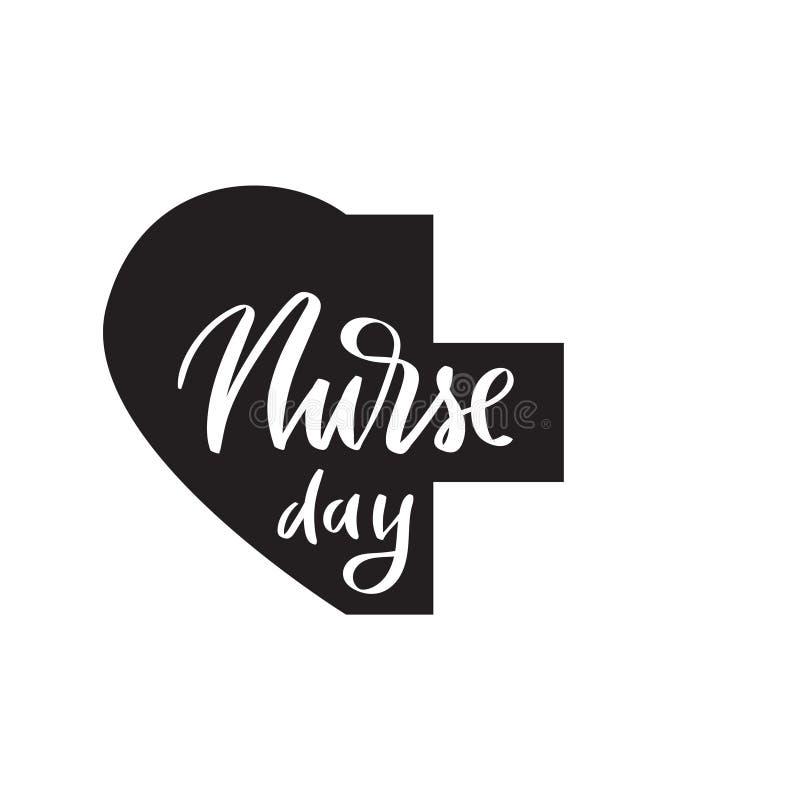 Caligrafía del cepillo del día de la enfermera, tipografía stock de ilustración