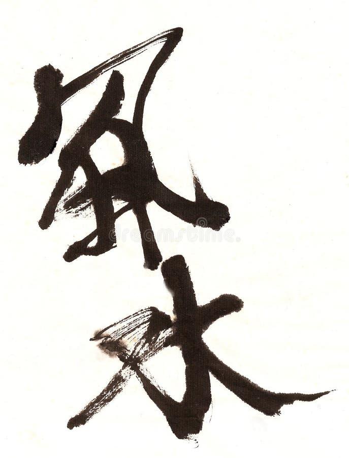 Caligrafía del chino de Feng Shui ilustración del vector
