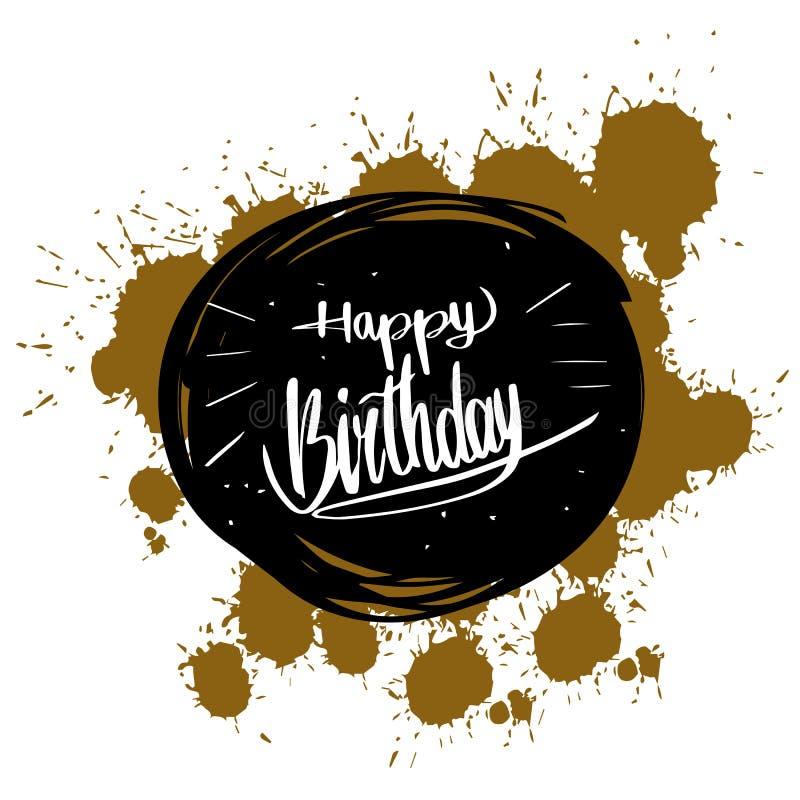 Caligrafía del feliz cumpleaños, tarjeta de felicitación del ejemplo del vector d stock de ilustración