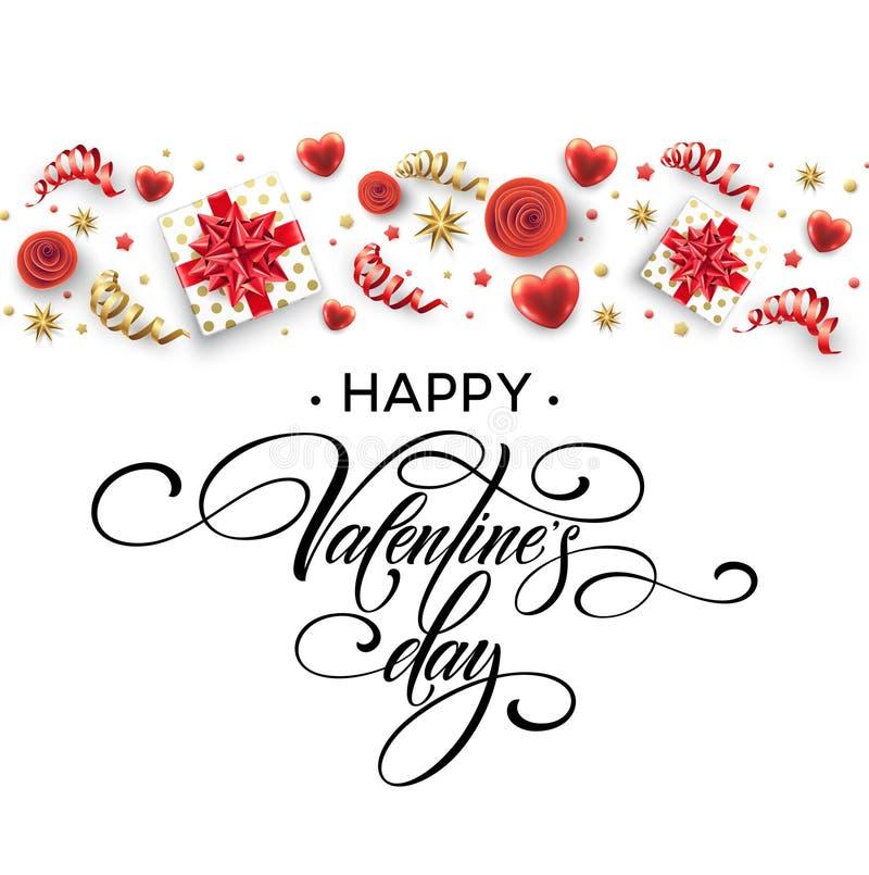 Caligrafía dibujada mano que pone letras a Valentine Day feliz Caja, arcos y cintas de regalo del color Ilustración del vector stock de ilustración