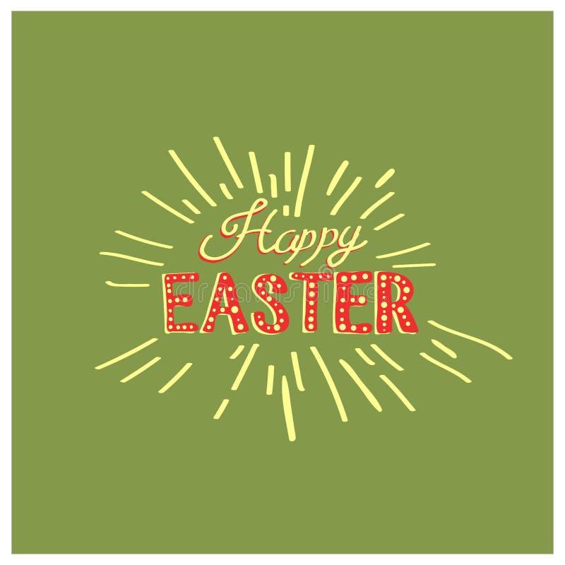 Caligrafía exhausta de la mano feliz de Pascua Postal del color de la primavera, diseño para la tarjeta de felicitación del día d libre illustration