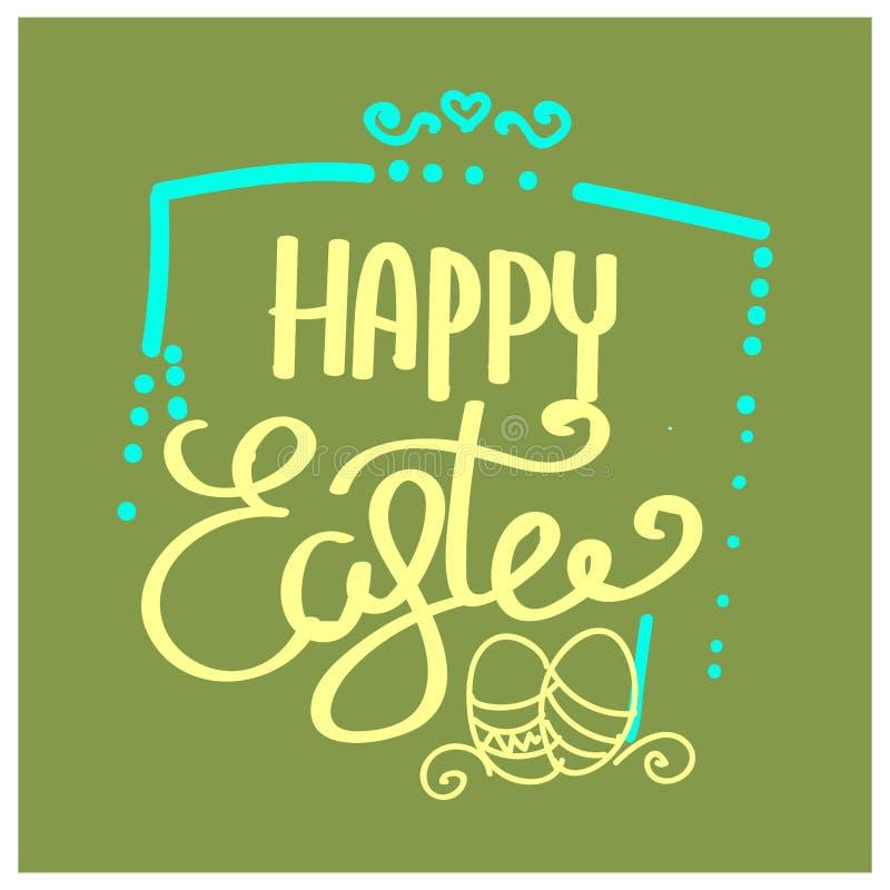 Caligrafía exhausta de la mano feliz de Pascua Postal del color de la primavera, diseño para la tarjeta de felicitación del día d ilustración del vector