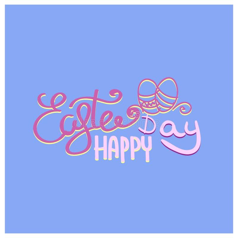 Caligrafía exhausta de la mano feliz de Pascua Postal del color de la primavera, diseño para la tarjeta de felicitación del día d stock de ilustración