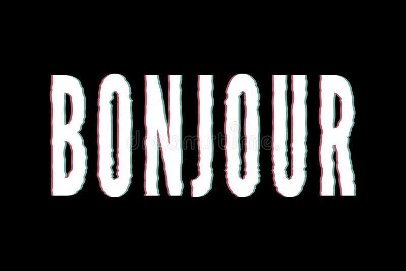 Caligrafía gráfica de las letras de la moda de la impresión del vector de la frase de Bonjour del lema fotografía de archivo libre de regalías