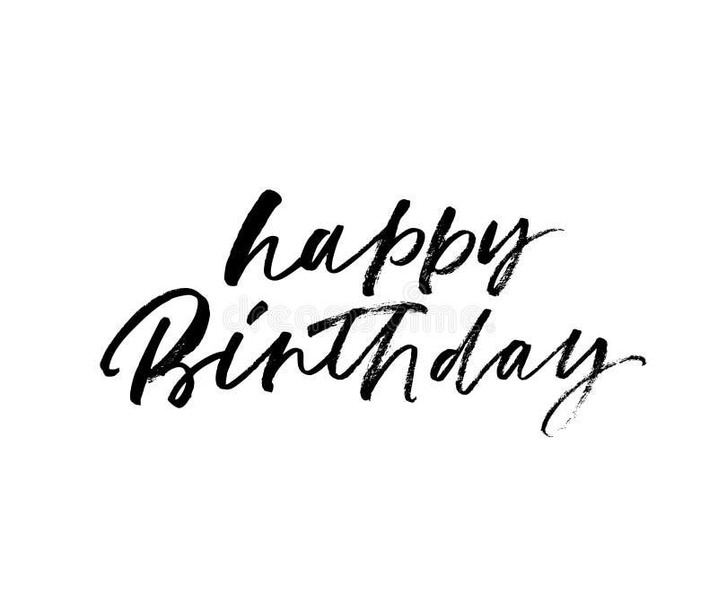Caligrafía negra manuscrita del vector del feliz cumpleaños ilustración del vector