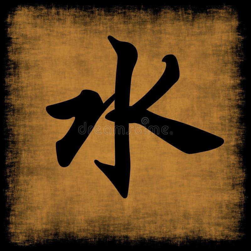 Caligrafia chinesa da água cinco elementos ilustração royalty free