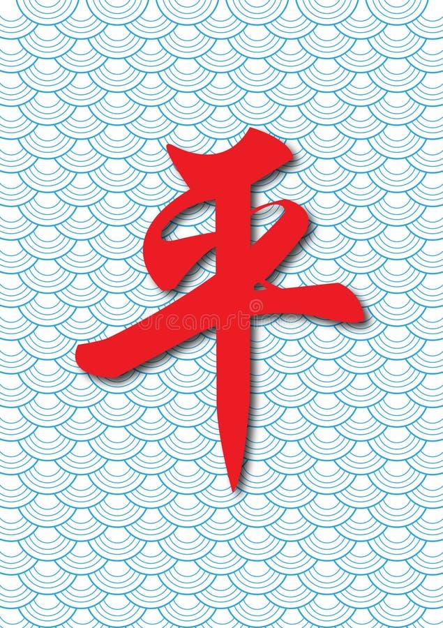 Caligrafia chinesa da paz com volume de água do zen ilustração do vetor