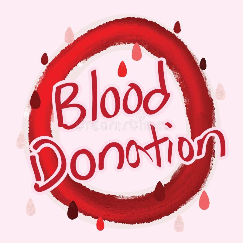 Caligrafia da doação de sangue ilustração royalty free