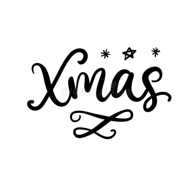 Caligrafia da escova do Xmas Cartão com rotulação da tinta do Natal ilustração stock
