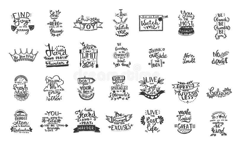 Caligrafia da escrita da frase do quadro do vetor Arte gravada preto e branco da tinta elemento solated da ilustração das citaçõe ilustração royalty free