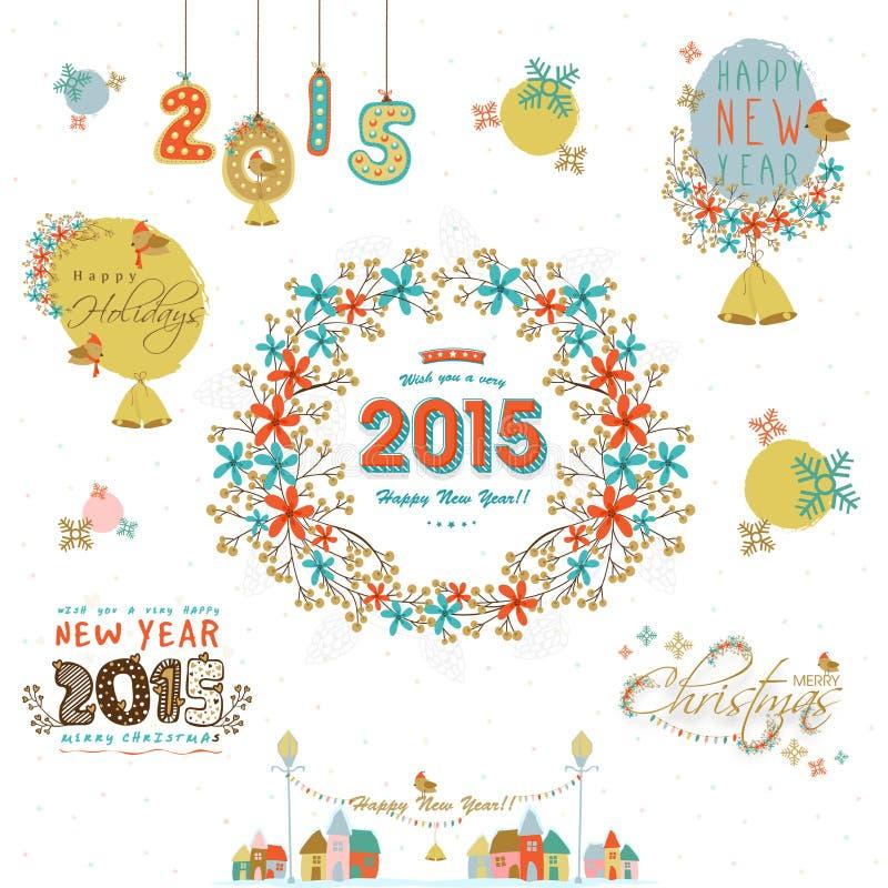 Caligrafia das celebrações do Feliz Natal e do ano novo feliz e ilustração do vetor