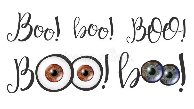 Caligrafia moderna da palavra Boo And Eyes Vetora ilustração do vetor