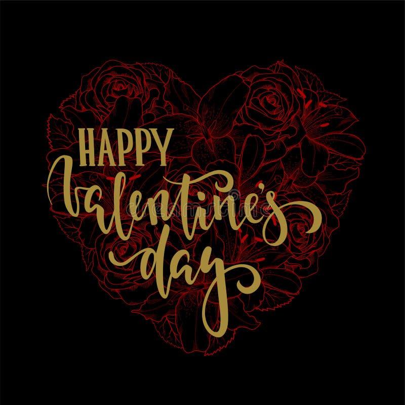 A caligrafia tirada e a escova do dia do ` s do Valentim mão feliz encerram a rotulação no coração floral preto e vermelho ilustração stock