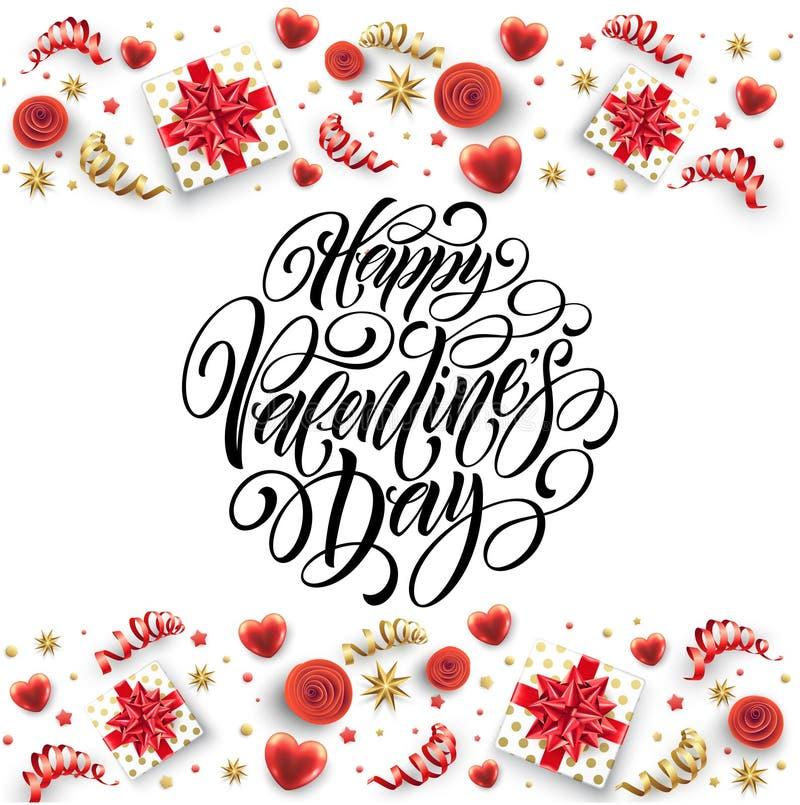 Caligrafia tirada mão que rotula Valentine Day feliz Caixa de presente, curvas e fitas da cor Ilustração do vetor ilustração royalty free