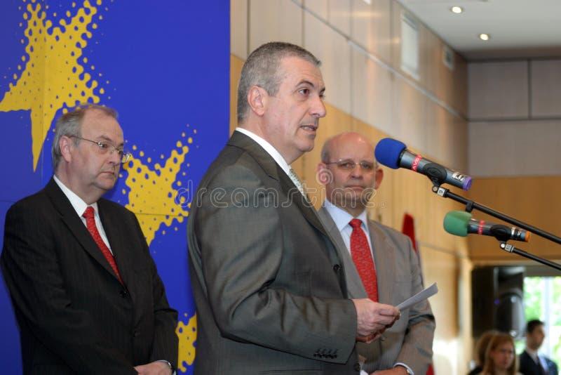Calin Popescu Tariceanu royaltyfria bilder