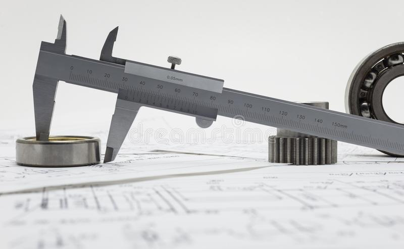Caliper And Bearing In The Drawing Stock Photo