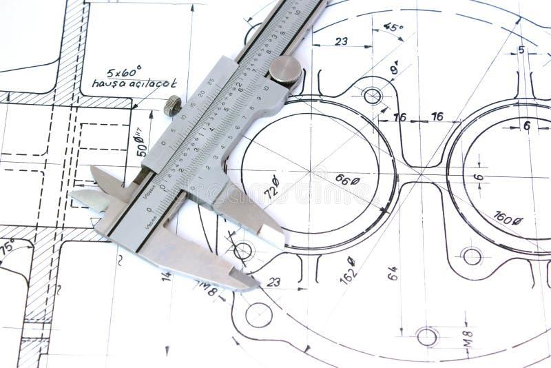 Caliper on Blueprint. Horizontal. Shallow DOF stock photo