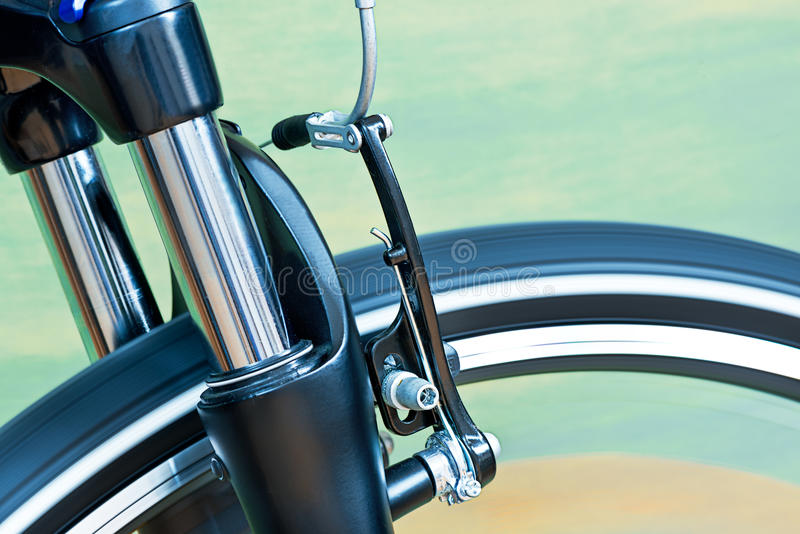 Caliper Brakes And Suspension Fork. Detail Of Caliper Brakes And Suspension Fork royalty free stock photography