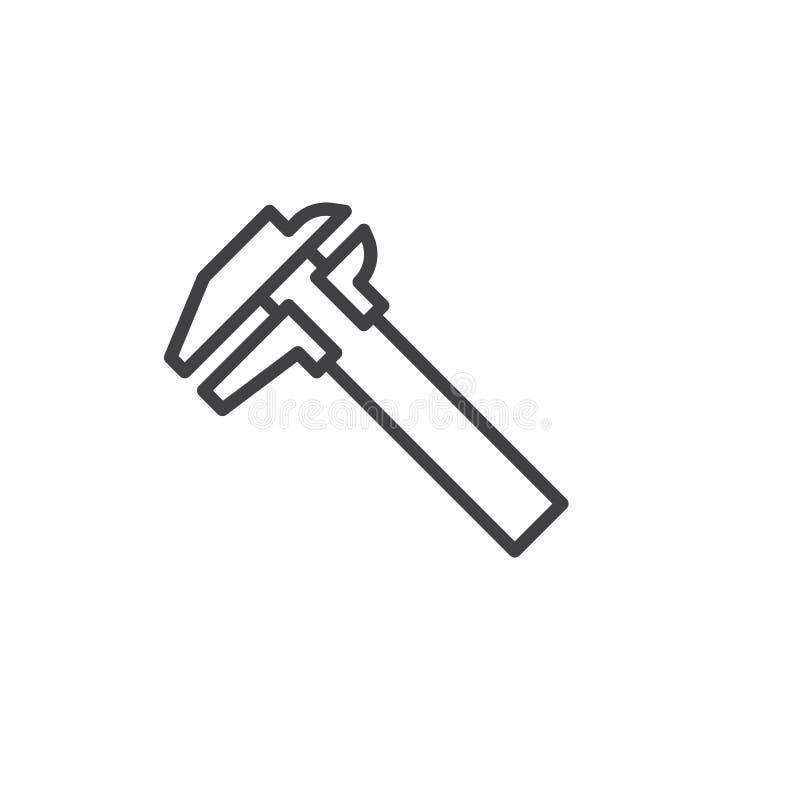 Caliper line icon. Outline vector sign, linear style pictogram isolated on white. Symbol, logo illustration. Editable stroke royalty free illustration