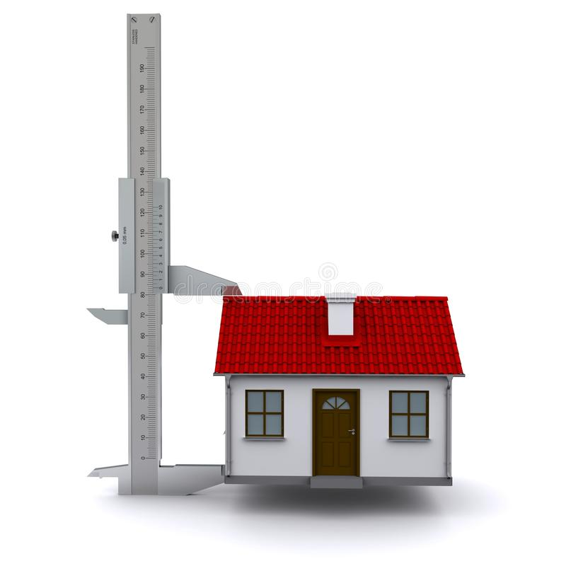 Caliper measures the height of the house. 3D rendering vector illustration