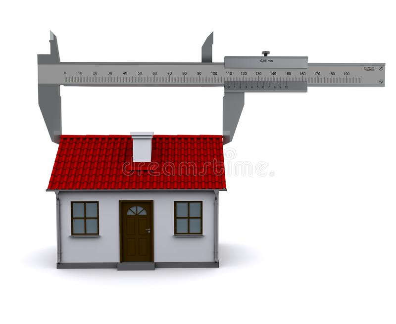 Caliper measures the length of the roof. 3D rendering stock illustration