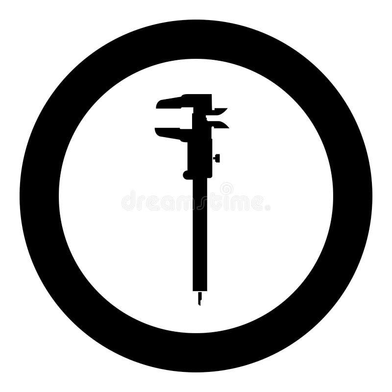 Caliper ręki caliper caliper noniuszu caliper Caliper gage obruszenia gage drugubicy Ślizgowa ikona w okręgu round czerni kolo royalty ilustracja