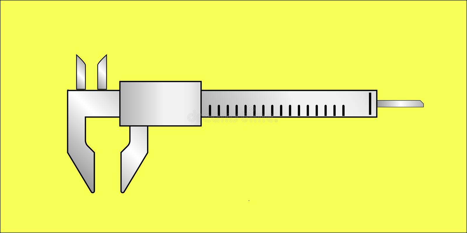 Caliper tool isolated. Caliper tool to metering lenght isolated stock illustration