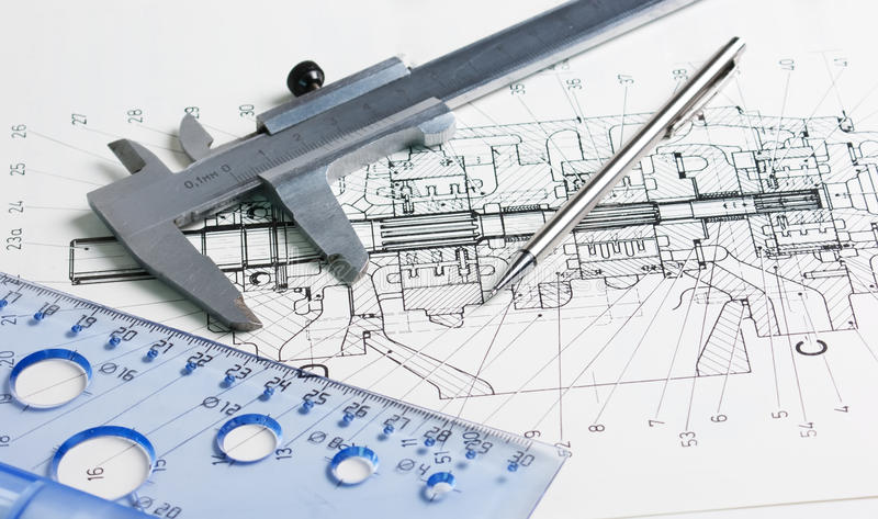 Calipers and mechanical drawing stock photos