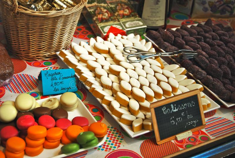 French Bakery window display Macaron and Calisson cookies stock photography