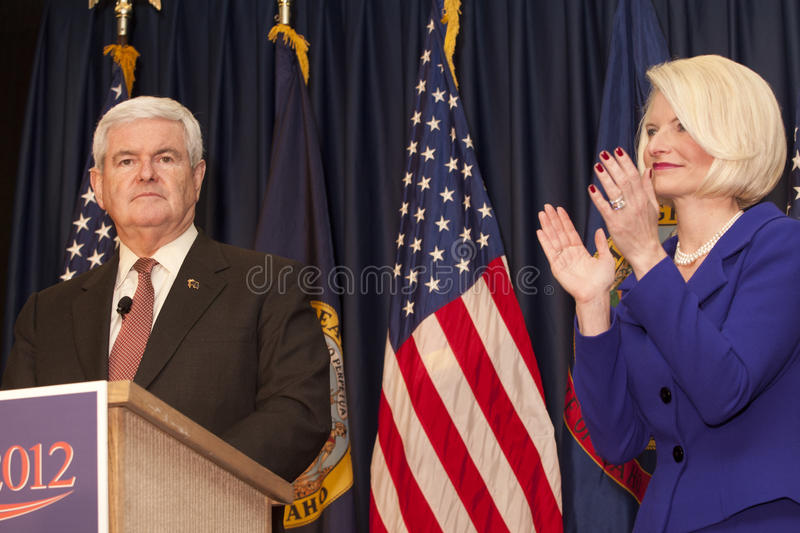 Calista applauds for Newt Gingrich. royalty free stock photography