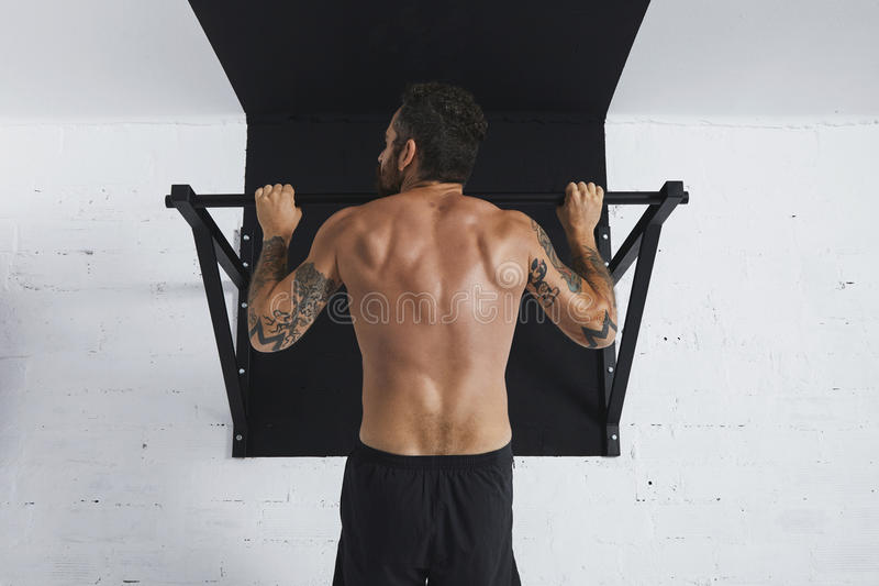 Calisthenic and bodyweight exercises. Back view on muscular topless male athlete showing calisthenic moves Pull up on pullbar, head looking on left side stock photography