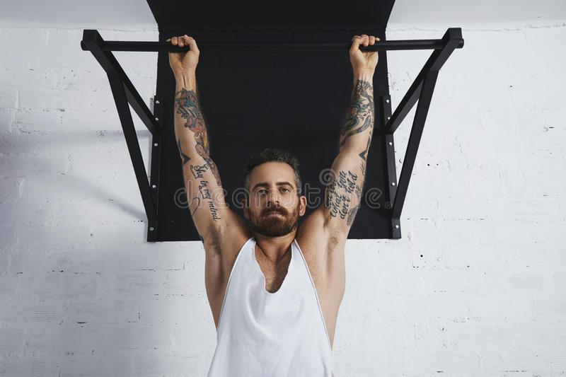 Calisthenic and bodyweight exercises. Brutal tattooed athletic man in white unlabeled tank t-shirt shows calisthenic moves close up of classic pullup Hanging on stock photography