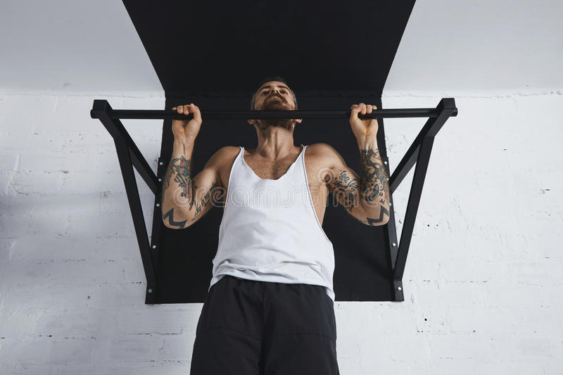 Calisthenic and bodyweight exercises. Strong tattooed in white unlabeled tank t-shirt male athlete shows calisthenic moves close up of classic pullup Holding on royalty free stock image