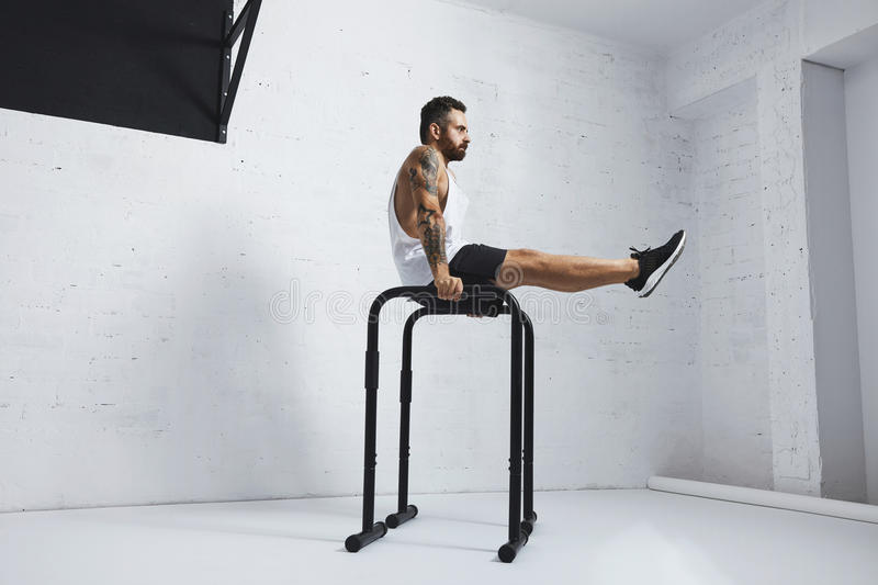 Calisthenic and bodyweight exercises. Strong tattooed in white unlabeled tank t-shirt male athlete shows calisthenic moves Holding L Sit position on parallel royalty free stock images