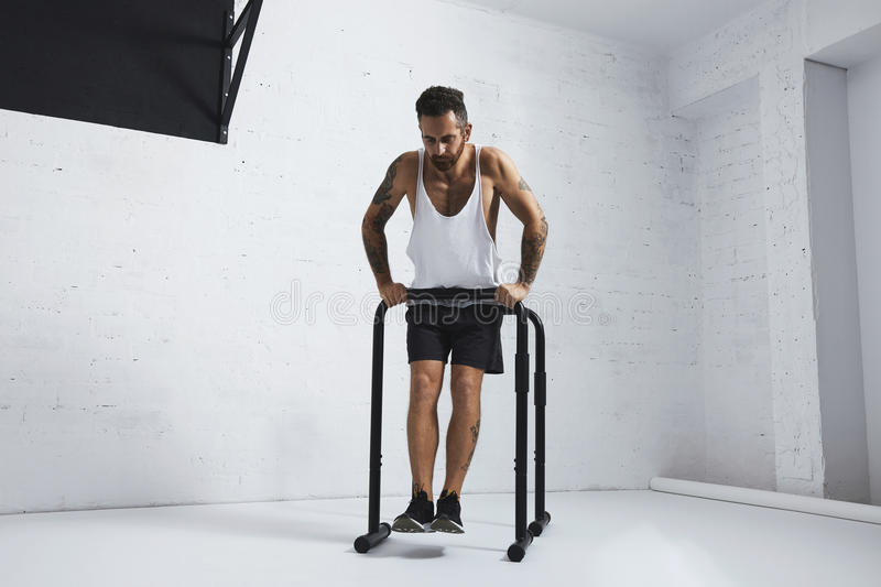 Calisthenic and bodyweight exercises. Strong tattooed in white unlabeled tank t-shirt male athlete shows calisthenic moves Straight dips move one, holding on one royalty free stock photo
